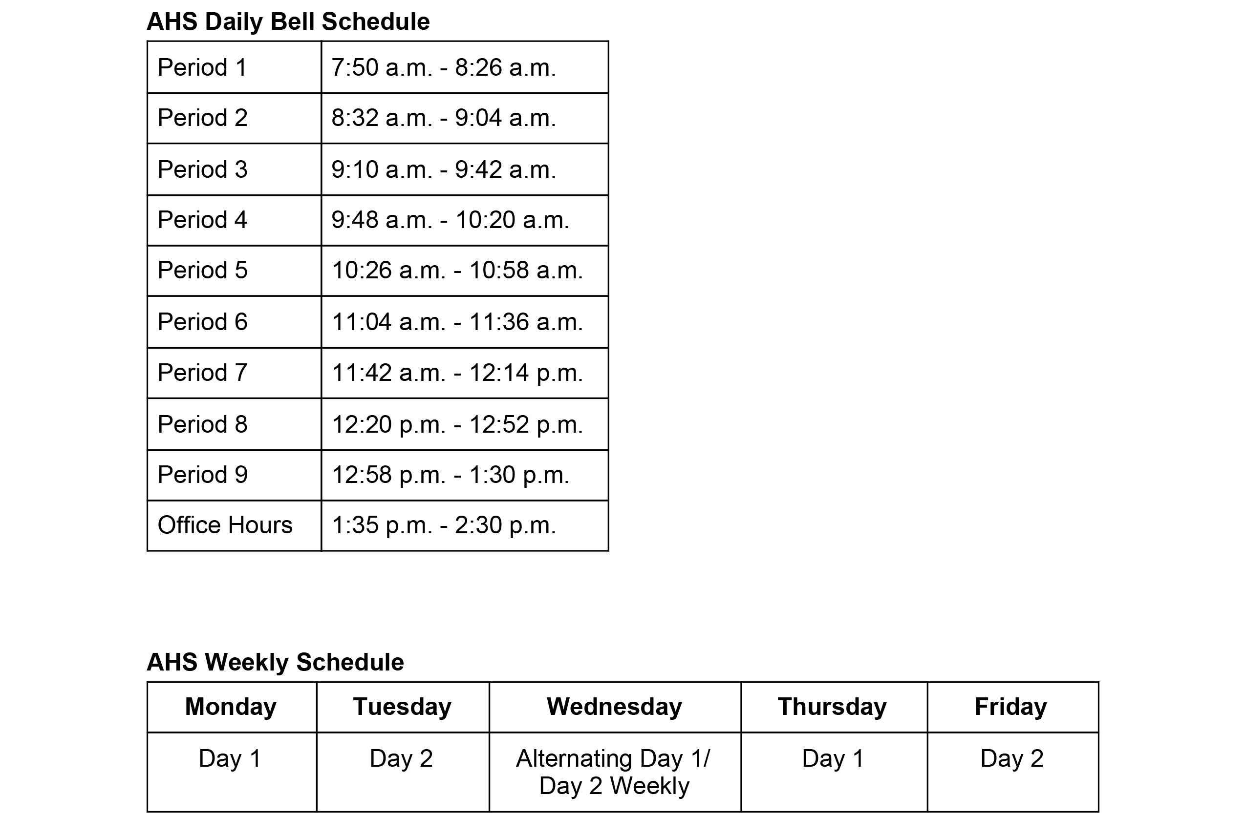 AHS bell  schedule during remote learning