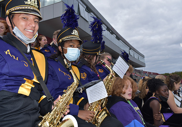 group of band members in the stands
