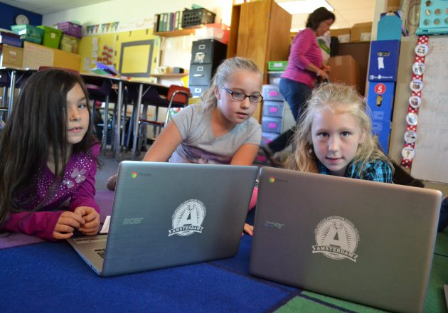 Students use laptops to do research.