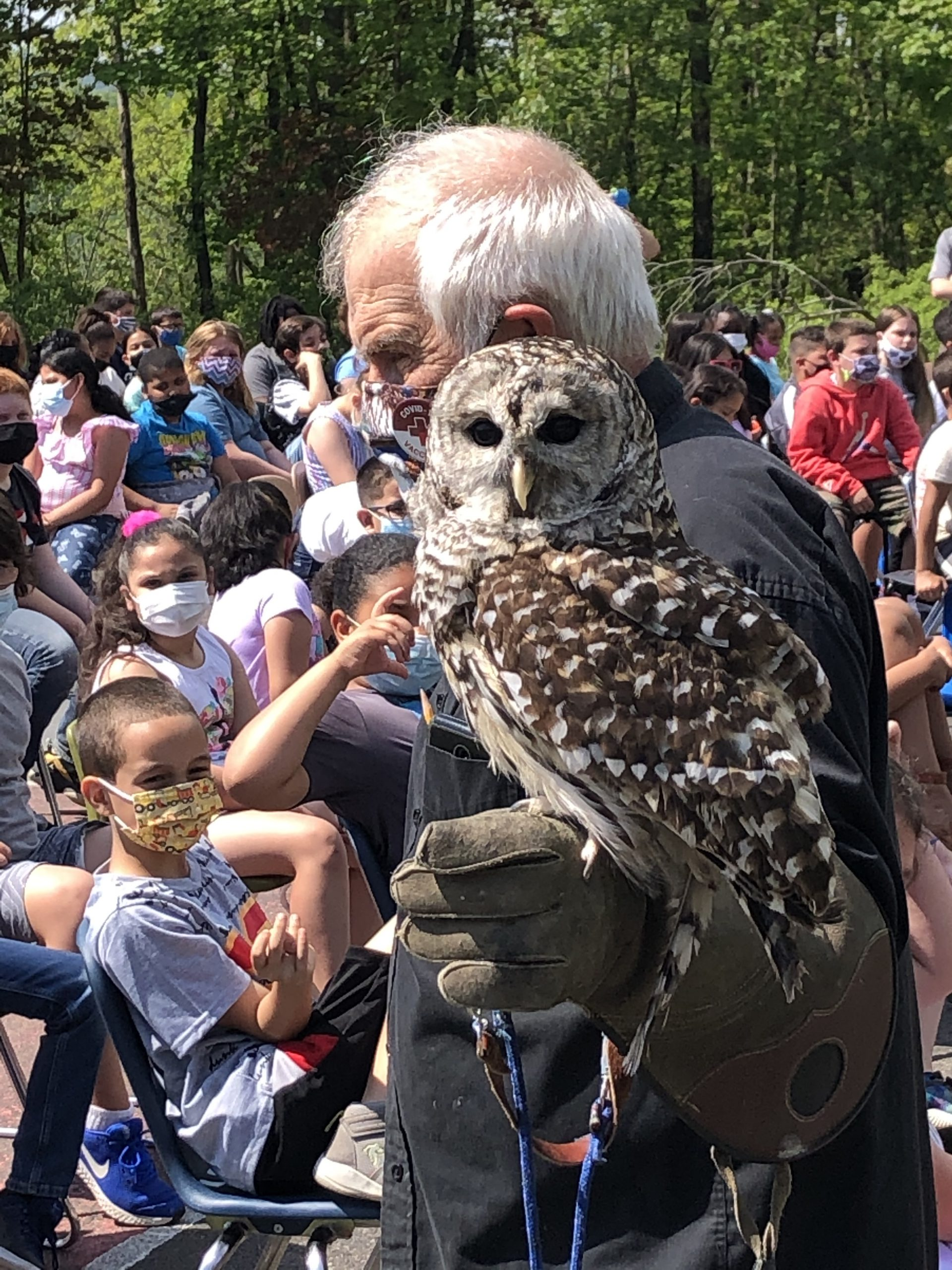 man holding a large owl