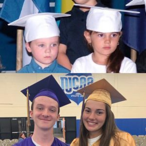 Two Pre-K students side by side, and two high school graduates side by side