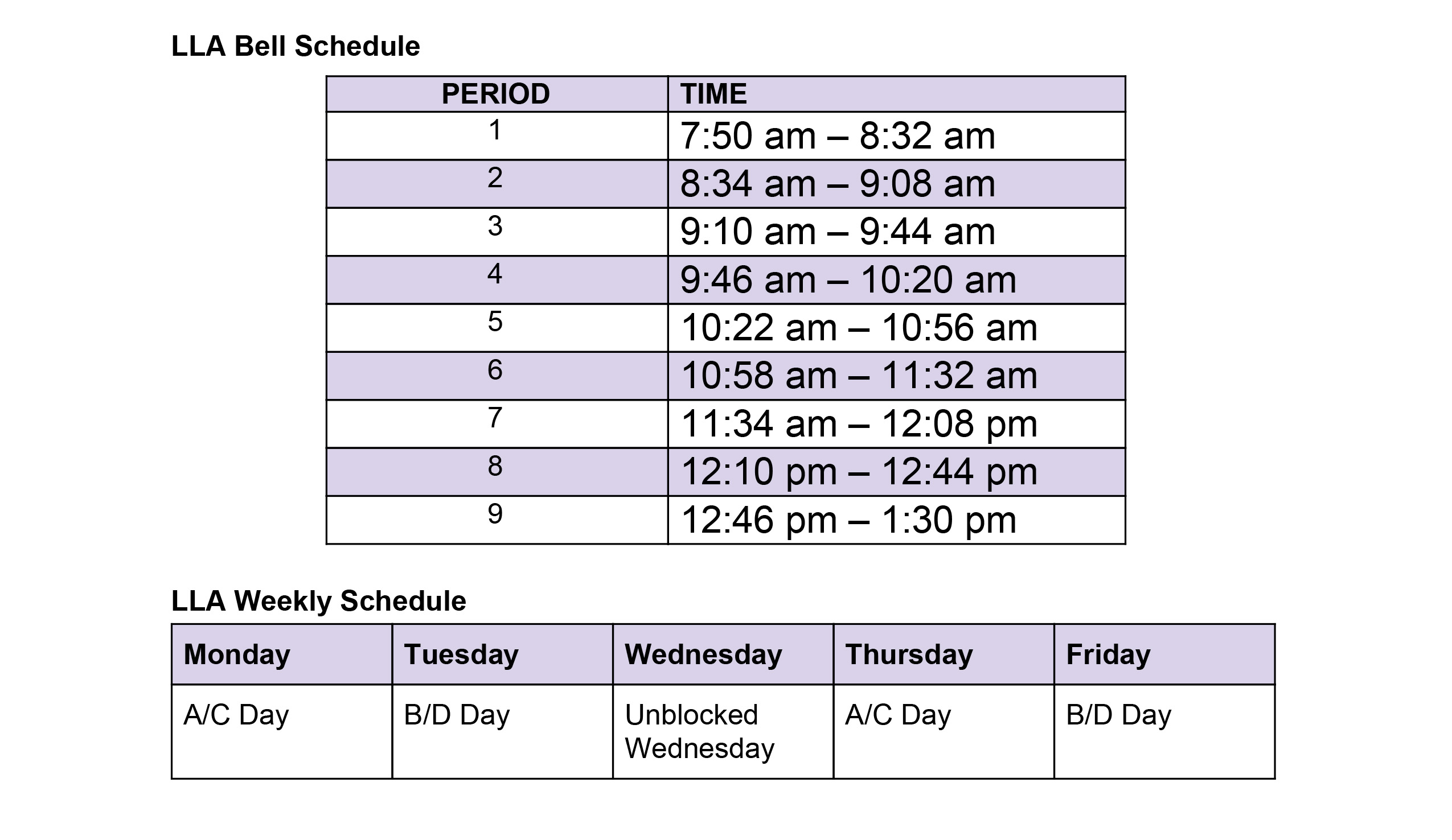LLA bell schedule during remote learning