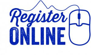 Register Online blue and white logo