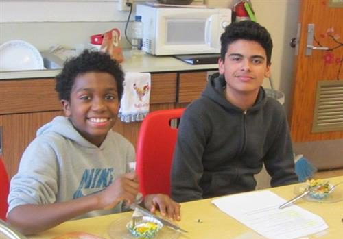 "Students participated in Jr. Iron Chef, self-proclaimed ""eggsperts."""